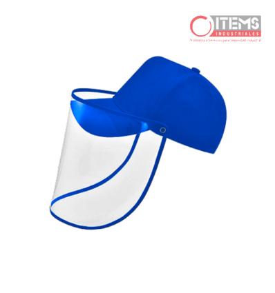 Gorra de Tela Azul con Protector Facial